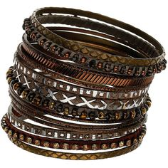 Brown Etched And Bead Bangles ($16) ❤ liked on Polyvore