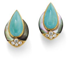 A pair of turquoise, diamond and mother of pearl earclips, by Fred
