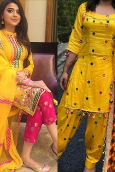 Salwar Suit Neck Designs, Silk Kurti Designs, Kurti Designs Party Wear, Yellow Punjabi Suit, Yellow Kurti, Yellow Dress, Designer Punjabi Suits, Indian Designer Outfits, Designer Sarees