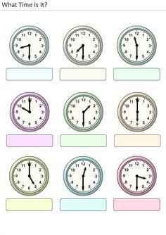 Actividades para niños preescolar, primaria e inicial. Plantillas con relojes analogicos para aprender la hora diciendo que hora es. Que hora es. 12