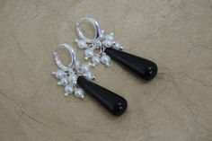 Cultured Freshwater Pearl Cluster Earrings Black by ForestBeads, $44.99