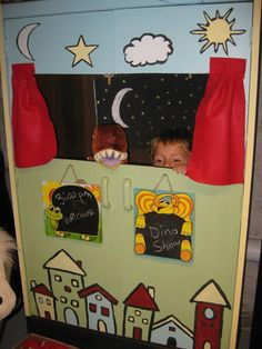 Homemade puppet theater.    Old clothes wardrobe turned into a puppet theater.  Cut a hole in both doors.  Make different background scenes (night scene shown) to hang from the clothes bar inside.  Paint the outside.  Staple/glue pretend felt curtains.  Hang $1 Store chalk boards on the outside for show times and play names.