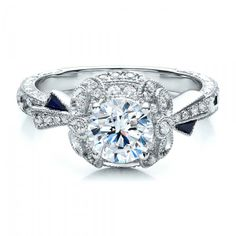 Halo Engagement Ring with Sapphires - Vanna K