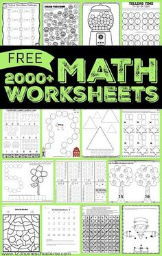 Over 1000 FREE Math Worksheets to help kids practice addition, subtraction, multiplication, telling time, money and more for graders. Free Printable Math Worksheets, 3rd Grade Math Worksheets, Homeschool Worksheets, 4th Grade Math, Homeschool Math, Homeschooling 2nd Grade, Subtraction Worksheets Kindergarten, Grade 2 Math Games, 3rd Grade Homework