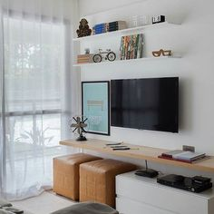 Interior Living Room Design Trends for 2019 - Interior Design Living Room Tv Unit, Narrow Living Room, Tiny Living Rooms, Small Space Living, Home And Living, Living Room Designs, Living Room Decor, Tv Room Small, Appartement Design