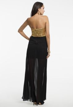 Strapless Sequin Dress with Pleated Skirt from Camille La Vie and Group USA