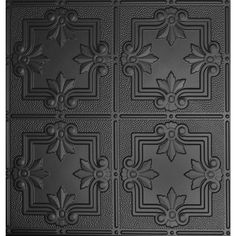 I want to use these on the wall behind the bath tub in my bathroom. (If I ever get it built) Global Specialty Products, Dimensions 2 ft. x 2 ft. Matte Black Tin Ceiling Tile for Refacing in T-Grid Systems, at The Home Depot - Mobile Tin Ceiling Tiles, Ceiling Panels, Tin Tiles, Bg Design, House Design, Floor Design, Subway Tile Backsplash, Herringbone Backsplash, Paint Backsplash