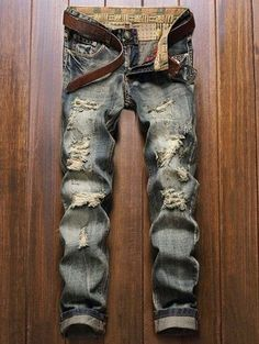 Cheap fashion men jeans, Buy Quality mens fashion jeans directly from China men jeans Suppliers: New Fashion Men Jeans Denim Pants Slim Punk Patchwork Distressed Frayed Long Pants Straight Blue Vintage Ripped Jeans For Men Gq Style, Looks Style, Denim Pants, Ripped Jeans, Biker Pants, Loose Jeans, Destroyed Jeans, Motorcycle Jeans, Men's Jeans