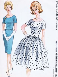 1960s ROCKABILLY Slim or Full Skirt Dress Pattern McCALLS 6636 Day or Party Beautiful Fitted Bodice Bust 34 Vintage Sewing Pattern UNCUT