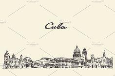 Cuba skyline by Bakani on @creativemarket