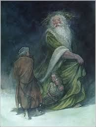 Illustrator P. Charles Dickens' A Christmas Carol. The children's names are Ignorance and Want, shown to Scrooge by the Ghost Of Christmas Present. Ghost Of Christmas Present, A Christmas Story, Christmas Art, Christmas Presents, Victorian Christmas, A Christmas Carol Revision, Christmas Carol Charles Dickens, Ebenezer Scrooge, Winter Solstice