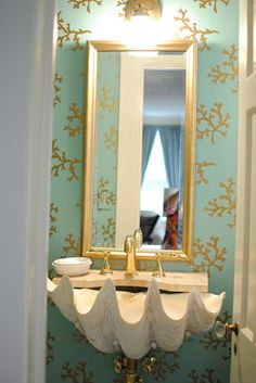 love the shell sink, wallpaper, colors #minty #gold #cream