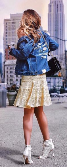 #spring #outfits  Printed Denim Jacket + Ivory Lace Skirt + White Open Toe Pumps