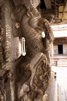 The Ranga Mandapa, the main hall in the Virupaksha Temple, features some quite stunning carvings of Yali (mythical lions) rearing from its pillars.