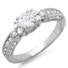 1.00 CT Ladies Round Cubic Zirconia CZ Wedding Bridal Engagement Ring (Available in size 6, 7, 8) DazzlingRock Collection. $24.99. Get most bang for your buck. Cubic Zirconia Weight : 1.00 ct tw.. Crafted in Platinum-plated. Cubic Zirconia Color / Clarity : White / Clear