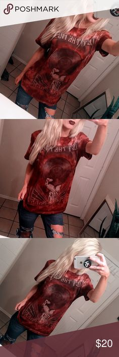 """Grunge Tie Dye Rock n' Roll Shirt Grunge Tie Dye Rock n' Roll Shirt.  Maroon tie-dye """"Let the Music Rock You"""" Old vintage album cover  Size medium oversized  Punk rock, 90s Grunge, vintage band style, distressed style.  Rock & Republic  Great New like condition Rock & Republic Tops Tees - Short Sleeve"""