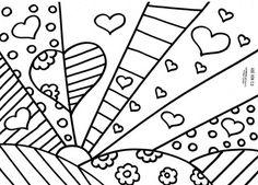 Web Chest: Romero Britto Coloring Pages - Giuditta Luddy Colouring Pages, Adult Coloring Pages, Coloring Sheets, Coloring Books, Arte Pop, Arte Elemental, Classe D'art, Pop Art, Arts Ed