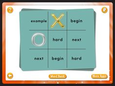 Play against the computer to win at tic tac toe. Download Tic Tac Toe: Kids Learn Sight Words Game app for $1.99 from iTunes.