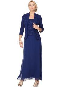 Alex Evenings Sparkled Jacquard Gown and Jacket | macys.com