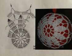 Christmas Tree Baubles, Crochet Christmas Ornaments, Christmas Crochet Patterns, Crochet Snowflakes, Snowflake Ornaments, Christmas Crafts, Christmas Decorations, Crochet Ball, Crochet Chart
