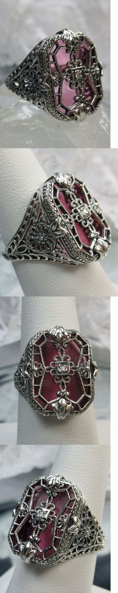 Other Fine Rings 177030: Rose Glass Solid Sterling Silver Art Deco 1930S Design Filigree Ring Size 9 -> BUY IT NOW ONLY: $52 on eBay!