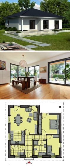 """Bungalow Modern European Style Architecture Design House Plan """"Bordeaux"""" - Dream Home Ideas Layout by GUSSEK HAUS - Arquitecture Contemporary Style House Plans and Interior with Kitchen Living Room Ba Plan Bordeaux, Modern Architecture Design, Architecture Bordeaux, Plans Architecture, Modern Architects, Contemporary Style Homes, Bungalow House Design, Home Design Plans, Small House Plans"""