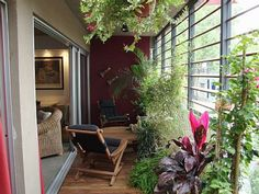 Terrazas y balcones decorados - Sooo want a balcony so I can do this to it! Balcony Garden, Indoor Garden, Exterior Design, Interior And Exterior, Bamboo House, Apartment Balconies, Houseplants, My Dream Home, Decoration