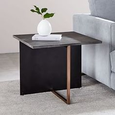 Korsa Oak + Copper Side Table is part of Warm Living Room Copper - Combining warm wood with sleek stainless steel, our Korsa Side Table makes a statement with its sculptural form and industrial feel Copper Side Table, Copper Coffee Table, Rustic Side Table, Black Side Table, White Side Tables, Modern Side Table, Modern Coffee Tables, Oak Table, Pick Up