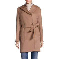 Weekend Max Mara April Cashmere Hooded Coat ($2,250) ❤ liked on Polyvore featuring outerwear, coats, apparel & accessories, camel, wool cashmere coat, weekend max mara coat, tie belt, camel coat and fur-lined coats