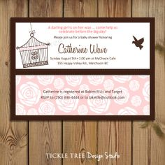 PRINTABLE Baby Shower Invitation - Pink Roses & Bird Cage PERSONALIZED (Style 13042)