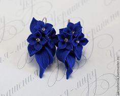 Купить Комплект синего цвета колье, серьги и браслет с цветами и стразами. - тёмно-синий