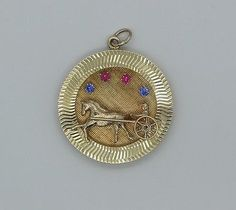 Vintage-14K-Yellow-Gold-3D-Disc-Charm-Pendant-with-Ruby-Sapphire-Stones..