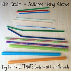 DAY 1 of 50 Kids Crafts and Activities Using Straws from Lalymom- Part of the ULTIMATE Guide to 50 Craft Materials from Craftulate! Straw Activities, Craft Activities For Kids, Craft Day, Craft Projects For Kids, Kids Crafts, Easy Crafts, Diy Fidget Spinner, Travel Crafts, Homemade Lip Balm