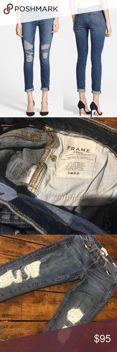 Frame Le Skinny De Jeanne Seville 26 London-inspired style combined with the quality of the L.A. denim industry informs a chic pair of go-to skinnies boasting on-trend distressed details. Supersoft and super-stretchy tech denim offers a flattering fit that slims the thighs while lifting the rear. In perfect condition from a smoke free home size 26. Frame Denim Jeans Skinny