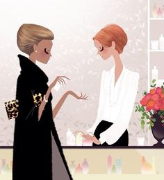 La tienda, la vendedora, el perfume, la colonia, la cliente, comprar, ir de compras.