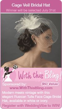 Wedding Sweepstakes - Win a cage veil bridal hat in this giveaway for your wedding!