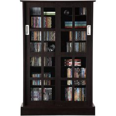 Atlantic Windowpane 576 CD or 192 DVD Blu-Ray Games Cabinet with Sliding Glass Doors, Espresso