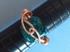 Hammered copper crysocalla blue green wire wrapped ring