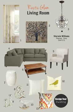 Client Update: Rustic Glam Living Room to match the Rustic Glam Kitchen.  Walls:  SW7015 - Repose Gray, Sherwin Williams.   So lovely~~~