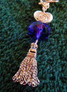Bridle charm tassel blue bead by MHAFARMS on Etsy