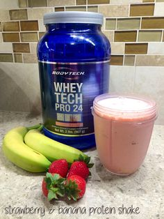 Try this delicious strawberry & banana protein shake using #BodyTech protein powder. Add 1/2 banana, a handful of fresh strawberries, 1 scoop of protein, some almond milk, ice and water! #vitaminshoppe #proteinshake #strawberryshake #healthy