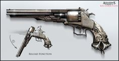 this is a standard looking 19th century based revolver which has some interesting patterns on the grip, and showing the way it would reload adds that little bit extra to it.
