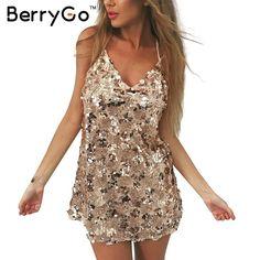 BerryGo Beach summer dress new year 2017 Sequin dress women Zipper vintage party dresses Golden mesh short vestidos de festa