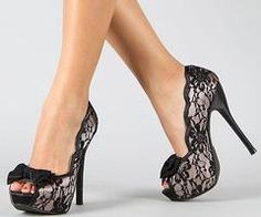 Oh black lace... I would own every single one of theses shoes.