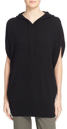 Black cashmere, ruched sleeve hoodie