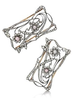 THREE SEED PEARL AND DIAMOND JEWELS, CIRCA 1900 Comprising three open work plaques, each of scrolling foliate design, set with seed pearls of pink and grey tint and cushion-shaped and circular-cut diamonds, the three plaques can be worn as a choker, illustrated on black velvet ribbon.