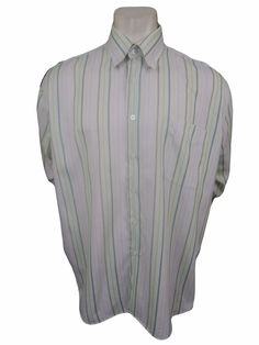 Alan Flusser Mens Casual Shirt Size XL Long Sleeve Striped #AlanFlusser #ButtonFront