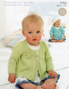 baby knitting pattern for   baby / girl short or long sleeve cardigan easy knit age birth /7yr  size 16 / 26 inch chest double knit yarn