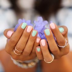 Pastel candy coloured nails