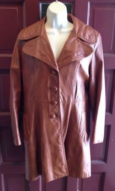 VINTAGE 70'S Womens Butterscotch Brown Belted LEATHER Spy  Coat Jacket Hippie